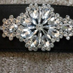 Lane Bryant belt black embellish silver crystal 2x